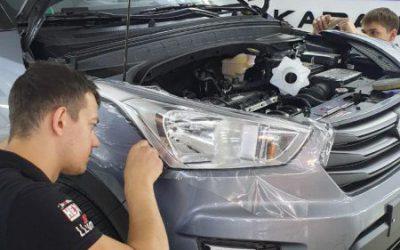 Hyundai Creta — бронирование фар пленкой ПВХ, капота полиуретановой пленкой Hexis Bodyfence