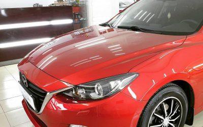 Mazda 3 — полировка и ремонт вмятин без покраски, перешив руля, ручки КПП и ручника, бронирование фар