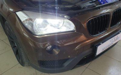 BMW X1 — замена габаритов, галогеновых ламп ближнего и дальнего света на диодные