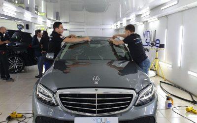 Mercedes C200 — бронирование лобового стекла автомобиля