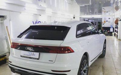Audi Q8 — тонировка пленкой Johnson, бронирование кузова полиуретановой плёнкой Hexis Bodyfence