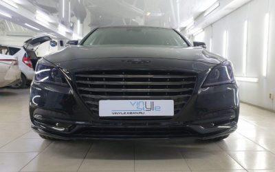 Hyundai Genesis — антихром автомобиля, оклейка хромированной частей черной глянцевой пленкой