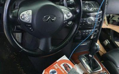 Установка охранного комплекса Starline S96 с автозапуском на автомобиль Infiniti QX70S