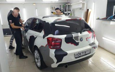 BMW1 в камуфляже — демонтаж плёнки и полировка фар