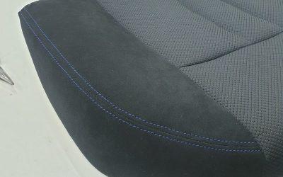 Ремонт сидения от BMW 5 series с заменой 2-х элементов и отстрочкой под оригинал синими нитками
