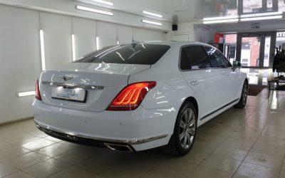 Hyundai EQ900 — тонировка Llumar, бронирование кузова, установка автосигнализации Starline S96 и видеорегистратора