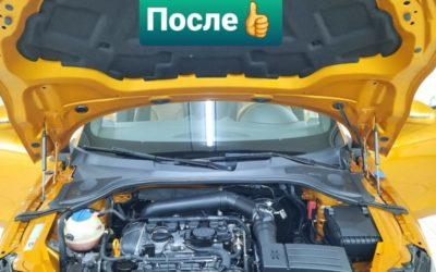 AUDI TT — бережная мойка двигателя автомобиля, освежили кожаный салон