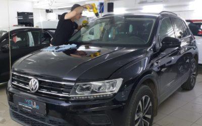 VW Tiguan — бронирование лобового стекла, капота, фар и ПТФ, ремонт вмятины