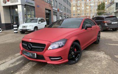 Mercedes CLS 350 — оклейка кузова МАТовой виниловой плёнкой цвета вишня, антихром и целый комплекс работ