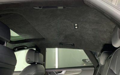 Audi A7 — перетяжка потолка, козырьков и стоек алькантарой, покраска потолочного пластика в черный мат и гравировка кнопок