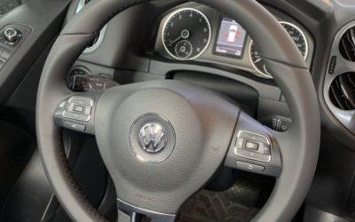 Volkswagen Tiguan — химчистка салона автомобиля, перетяжка руля натуральной кожей Nappa