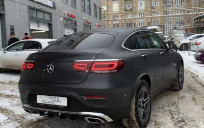 Mercedes GLC 300D — бронирование матовой полиуретановой пленкой, бронирование фар и тонировка