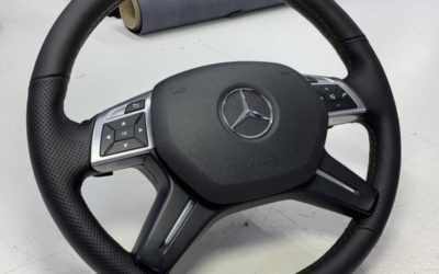 Перетянули руль Mercedes ML с утолщением в натуральную кожу Наппа + псевдоперфорация