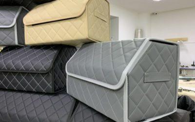 Пошив чемоданчиков из серой и бежевой эко кожи