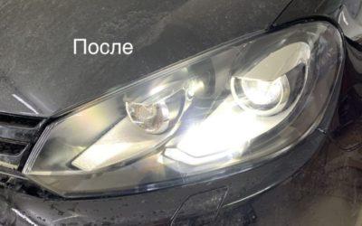 Volkswagen Golf — заменили штатные ксеноновые линзы на светодиодные bi-led модули, замена стекол фар и бронирование