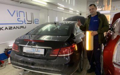 Mercedes E200 — ремонт вмятины без покраски на заднем левом крыле