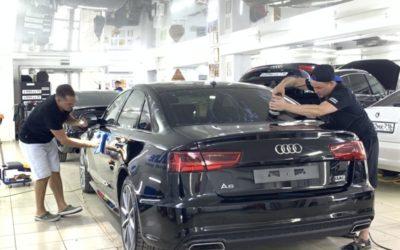 Audi A6, 2017 года — глубокая полировка кузова и покрытие керамикой, бронирование фар и стоек дверей, нанесение состава «Антидождь»