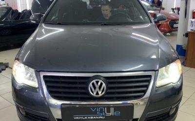 Volkswagen Passat B6 — установили светодиодные модули, новую мультимедиа на базе Android, перетяжка потолка
