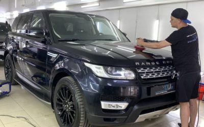 Range Rover Sport — полировка кузова, нанесение керамики, бронирование фар пленкой Stek, покраска решетки, перетяжка руля