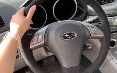 Subaru Tribeca — перетяжка рулевого колеса алькантарой