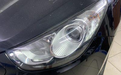 Заменили штатные галогеновые линзы фар Hyundai IX35 светодиодными модулями Aozoom A3 Max