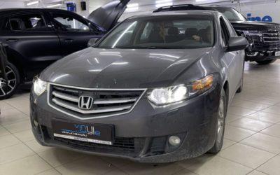 Honda Accord 2008 года — установили bi-led модули Aozoom A3 max, заменили лампы в габаритках